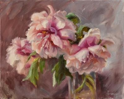Картина маслом цветы «Пионы» купить живопись для современных интерьеров Украина