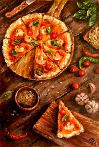 Картина натюрморт «Bon appetit» Пицца» купить живопись для современных интерьеров Украина