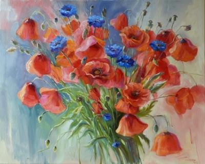 Картина цветы «Поцелуй солнца» купить живопись для современных интерьеров Украина