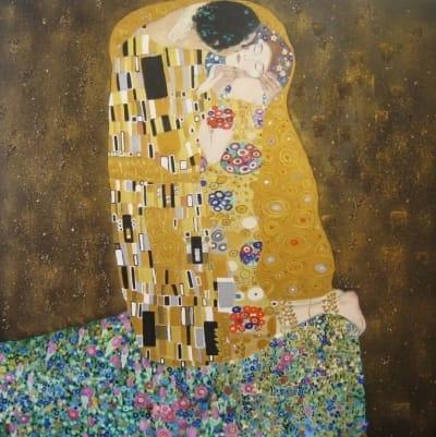 Картина «Поцелуй» копия Климт купить живопись для современных интерьеров Украина