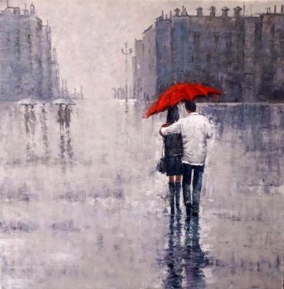 Картина маслом пейзаж «Под дождем» купить современную живопись Украина