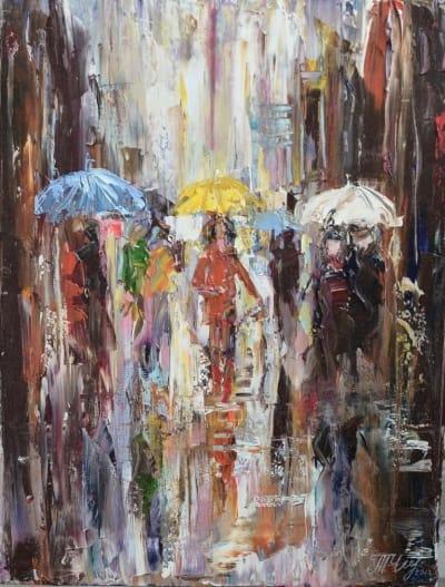 Картина «Под зонтом» купить картину маслом Киев