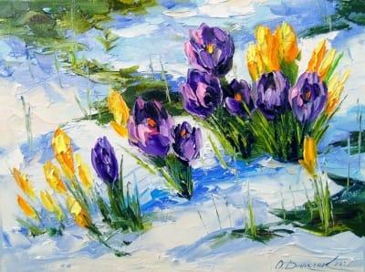 Картина маслом цветы «Подснежники» купить живопись для современных интерьеров Киев