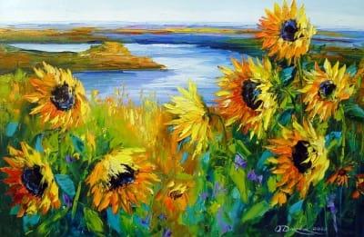 Картина маслом летний пейзаж «Подсолнухи на ветру у реки» купить живопись для современных интерьеров Украина