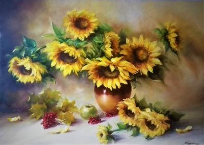 Картина с цветами «Подсолнухи» купить живопись для современных интерьеров Украина
