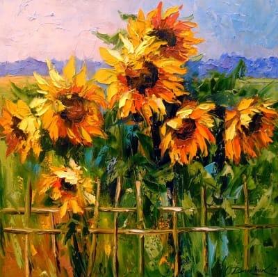 Картина маслом цветы «Подсолнухи» - купить живопись для современных интерьеров Украина