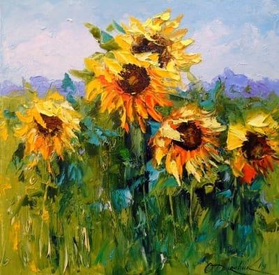 Картина маслом цветы «Подсолнухи и ветер» купить живопись для современных интерьеров Украина