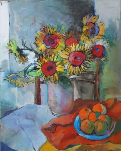 Картина для современных интерьеров цветы «Подсолнухи» купить живопись Украина