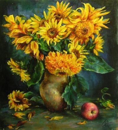 Картина цветы «Подсолнухи» купить живопись для современных интерьеров Киев