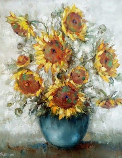 Картина «Подсолнухи» - картины для современных интерьеров Украина - живопись цветы