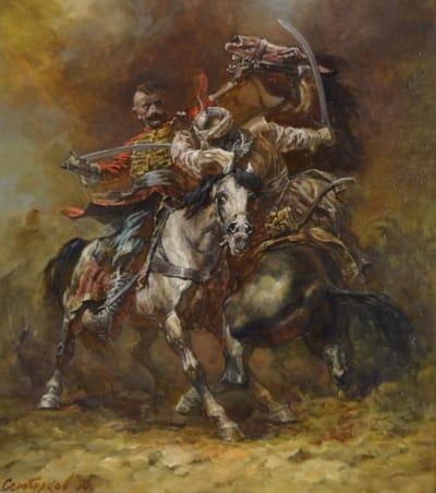 Картина маслом историческая тематика «Поединок» купить живопись для современных интерьеров Киев