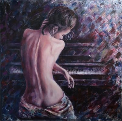Картина «Погруженная в мечты» купить живопись Украина