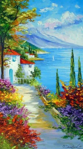 Картина маслом летний пейзаж «Полдень на побережье» купить живопись для современных интерьеров Украина
