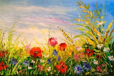 Картина «Поле и цветы»