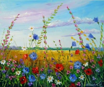 Картина маслом «Поле с цветами» купить живопись для современных интерьеров Украина
