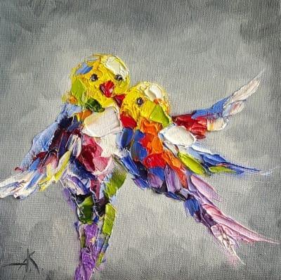 Картина птицы «Полет в сером небе» картины для современных интерьеров Киев