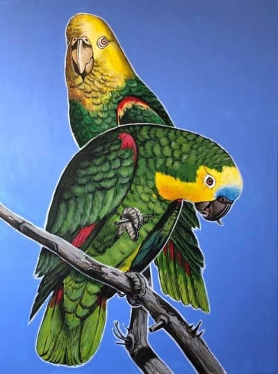 Картина акрил анималистика «Попугаи» купить живопись для современных интерьеров Украина