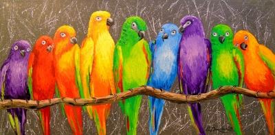 Картина «Попугаи - друзья»
