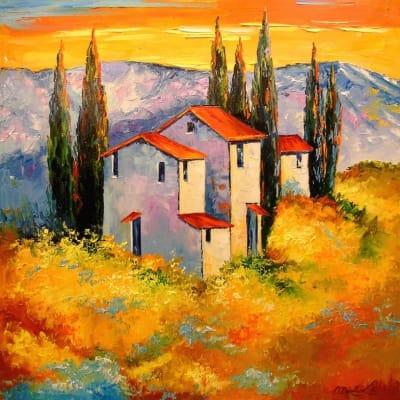 Картина «Поселение у гор»