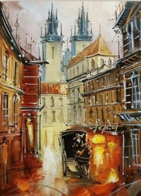 Картина маслом городской пейзаж «Величие Праги» купить живопись для современных интерьеров Украина