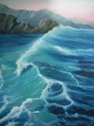 Картина маслом морской пейзаж «Прибой» живопись для современных интерьеров