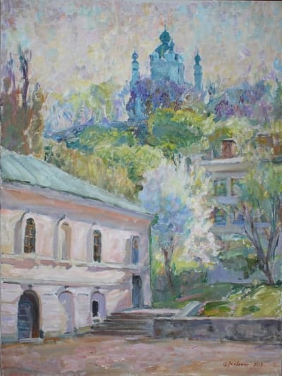 Картина маслом киевский пейзаж «Прогулка по Подолу» купить живопись для современных интерьеров Украина