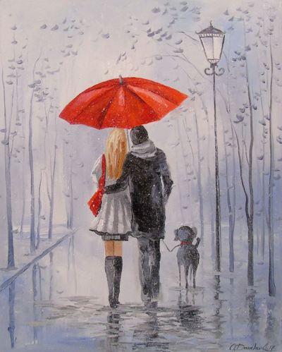 Картина «Прогулка после дождя»