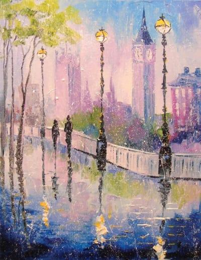 Картина городской пейзаж «Прогулка в Лондоне» купить живопись для современных интерьеров Украина