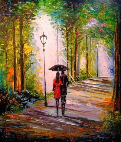 Картина маслом «Прогулка в парке» - купить живопись для современных интерьеров Украина