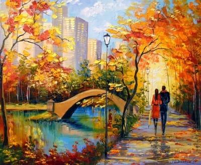 Картина маслом «Прогулка в парке Нью-Йорка» купить живопись для современных интерьеров Украина