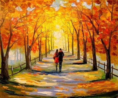 Картина маслом осенний пейзаж «Прогулка в солнечный день» - картины для современных интерьеров Украина