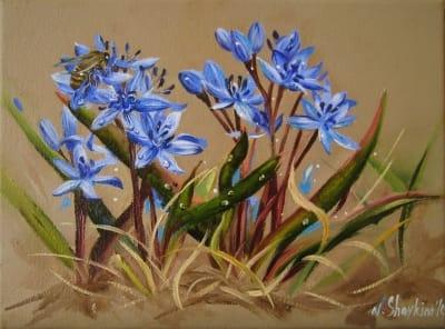 Картина цветы «Пролески с пчелой» купить живопись для современных интерьеров Украина