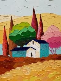 Картина маслом пейзаж «Утренняя Тоскана» купить живопись для современных интерьеров Киев
