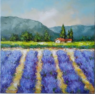 Картина маслом с цветами «Прованс» купить живопись летний пейзаж Украина