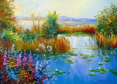 Картина маслом природа пейзаж «Пруд» - купить живопись для современных интерьеров Украина