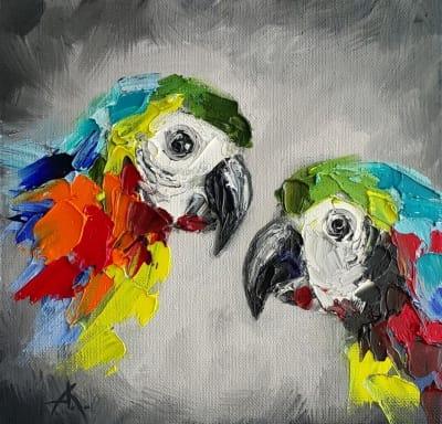 Анималистика картина «Птицы в темноте» картины для современных интерьеров Украина