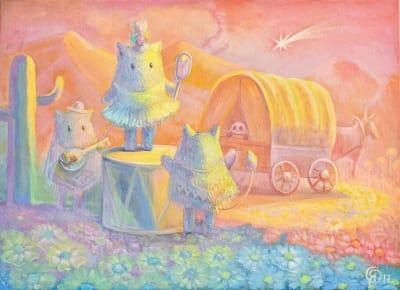 Картина для детской комнаты «Пухнастики. Рождение новой звезды» купить картину маслом Киев