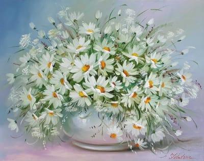 Картина «Корзинка с ромашками» купить живопись Украина