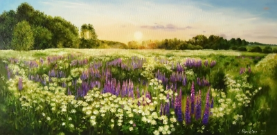 Картина пейзаж «Утро» купить живопись для современных интерьеров Украина