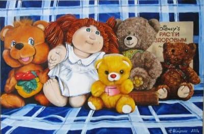 Картина детям «Расти здоровым, малыш» купить живопись для современных интерьеров Украина