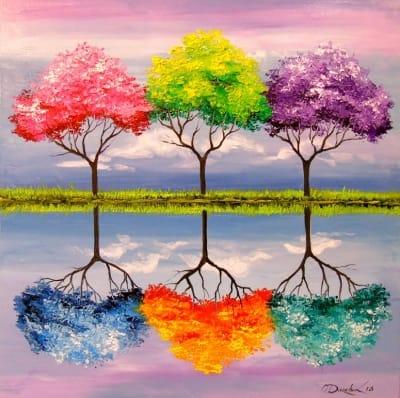 Картина «Разноцветные деревья»