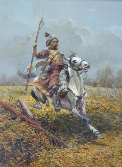 Картина маслом историческая тематика «Разведчик» купить живопись для современных интерьеров Киев