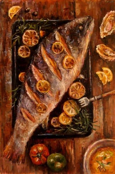Картина натюрморт «Bon appetit» Рыба» купить живопись для современных интерьеров Украина