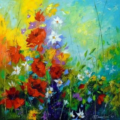 Картина маслом «Ритм летних цветов» купить живопись для современных интерьеров Украина