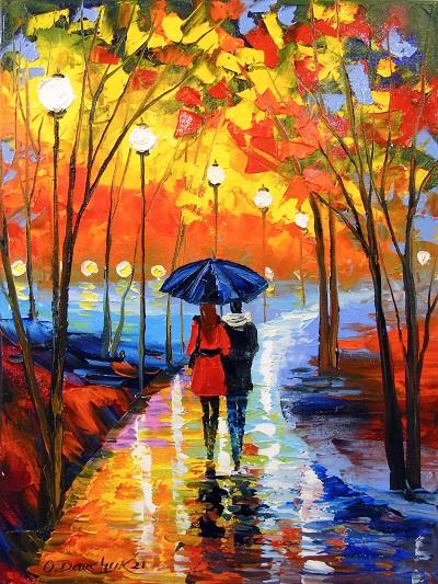 Картина пейзаж «Романтическая прогулка в парке» купить живопись для современных интерьеров Украина
