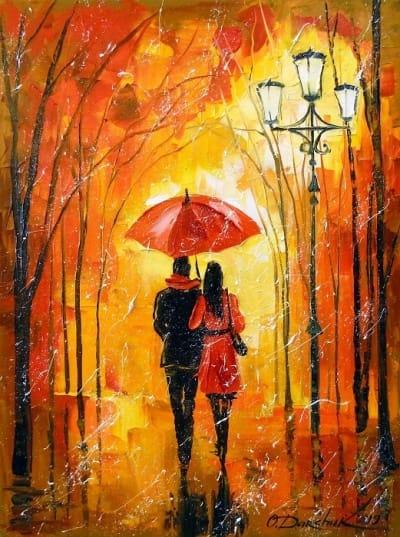 Картина маслом «Романтическая прогулка» купить живопись для современных интерьеров Украина