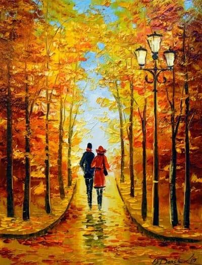 Картина маслом осень «Романтическая прогулка» купить живопись для современных интерьеров Украина