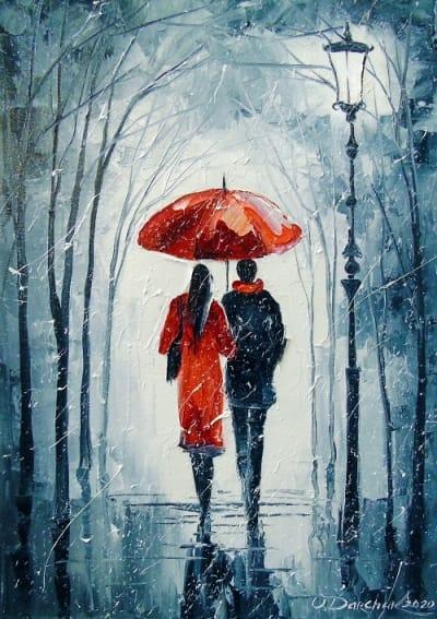 Картина маслом пейзаж «Романтика для двоих» купить живопись для современных интерьеров Украина