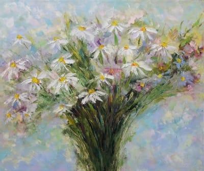 Картина маслом цветы «Ромашки» - современная живопись Украина