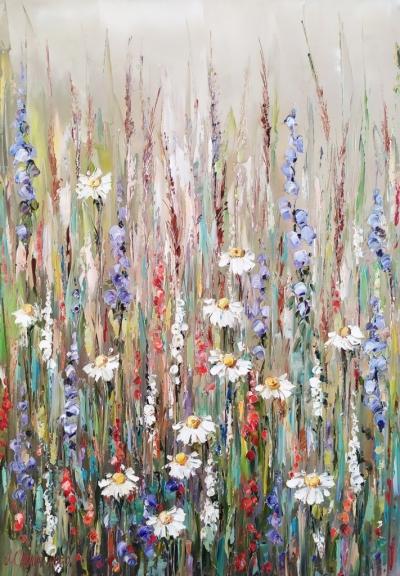 Картина цветы «Ромашки» купить живопись для современных интерьеров Украина